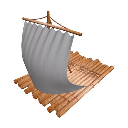 balsa: 3d render of water raft  Stock Photo