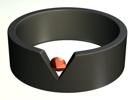 3d render of metal ring  photo