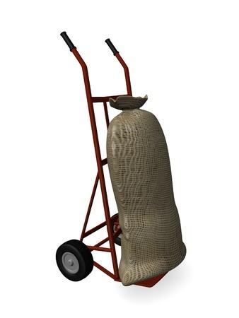 burlap bag: 3d render of sack truck