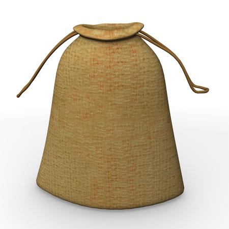 burlap bag: 3d render of sack (bag)