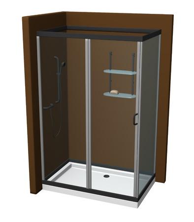 3d render of shower (bathroom) photo