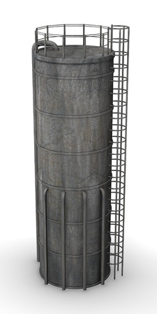 silo: 3d render of silo( industrial element)