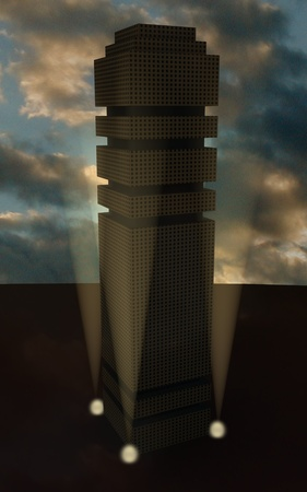 scraper: 3d render of sky scraper  Stock Photo