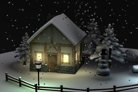 3d render of snow globe (scene)
