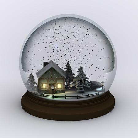Rendu 3D de globe de neige (la scène)