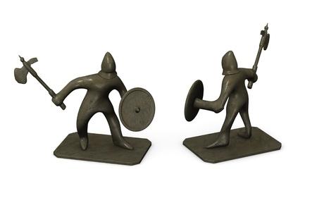 3D render van kleine metalen standbeeld