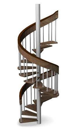 3D render van moderne trappen