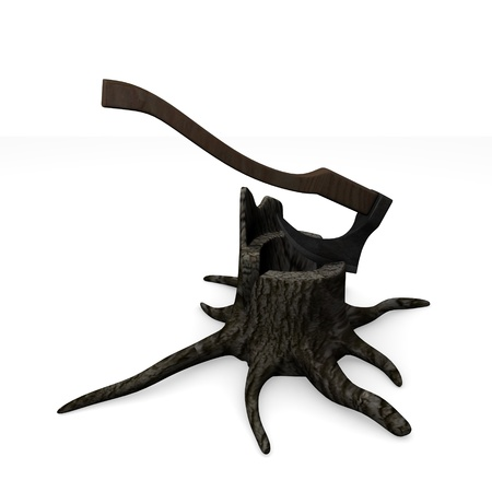 3d render of stump + axe  photo