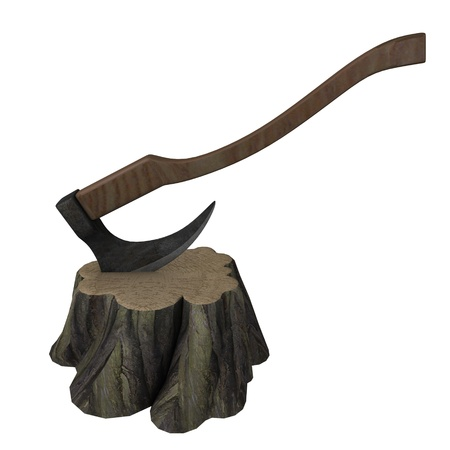 melee: 3d render of stump + axe  Stock Photo