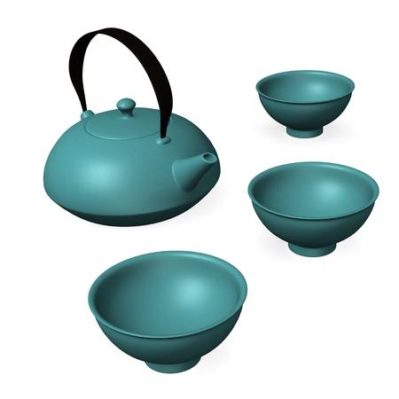 chinese tea pot: 3d render of japanese tea set