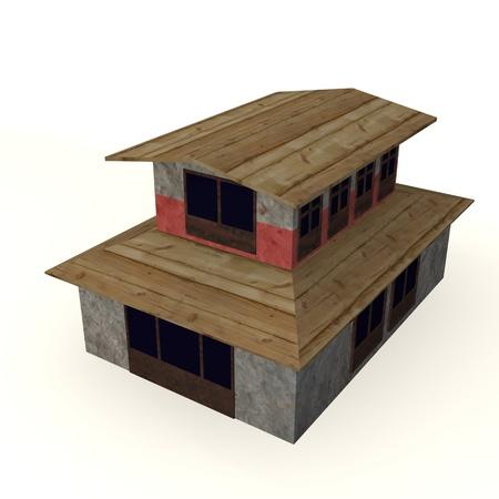 3d render of tibetian barn