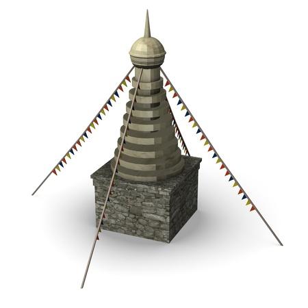himalaya: 3d render of tibetian barn