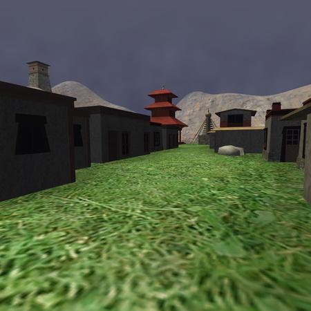 3d render of tibetian village  Stock fotó