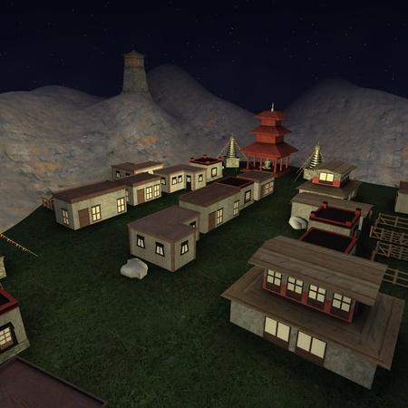tibetian: 3d render of tibetian village  Stock Photo