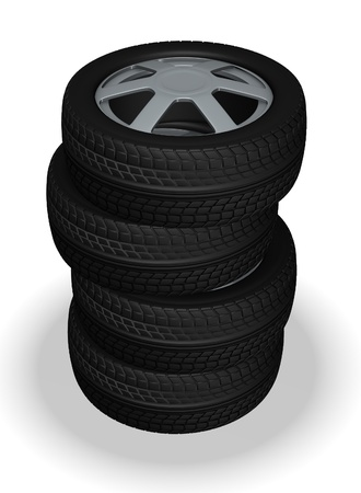 3d render of car tires photo