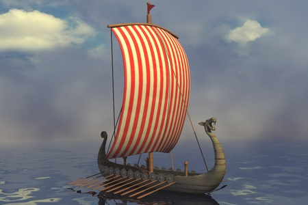 raider: 3d render of viking ship