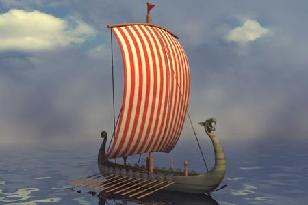 3D render van Vikingschip