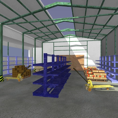 3d render of warehouse interior  photo