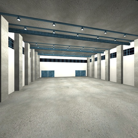 warehouse interior: 3d render of warehouse interior