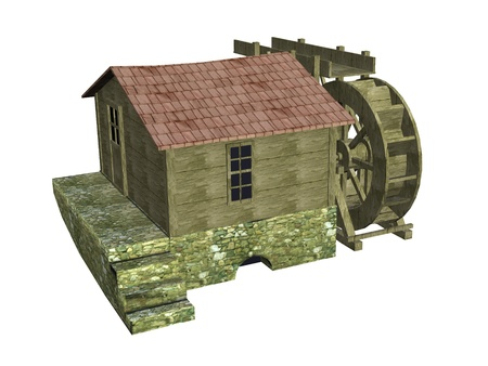 water mill: 3d render of water mill