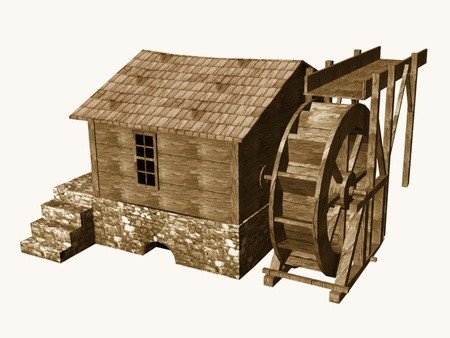 3d render of water mill photo