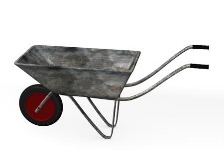 wheel barrow: 3d render of wheel barrow Stock Photo