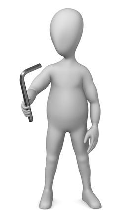 allen key: 3d render of cartoon character with allen key