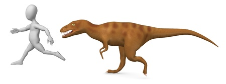 3d render of cartoon character running from dinosaur photo