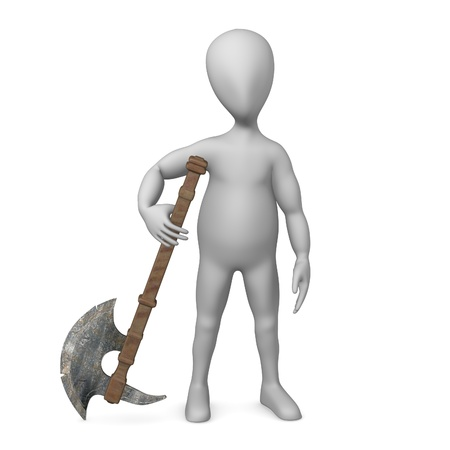 stockie: 3d render of stockie with axe Stock Photo