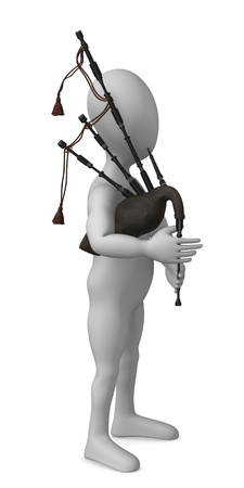 strains: 3d render of cartoon character with bagpipe