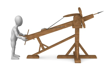 catapult: 3d render of cartoon character with ballista