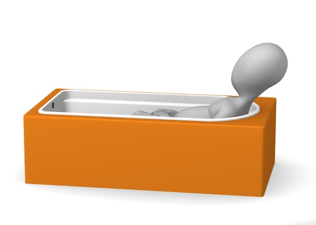 3d render of cartoon character in bathtub photo