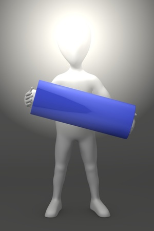 3d render of cartoon character with battery photo