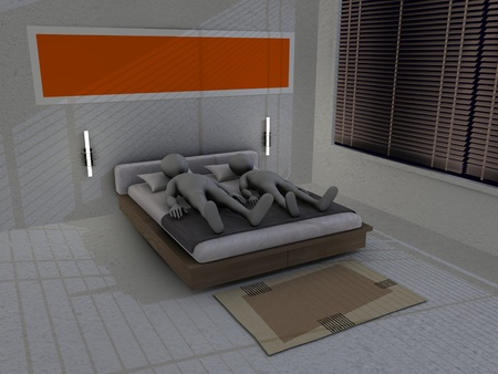 3d render of cartoon character in bed  photo