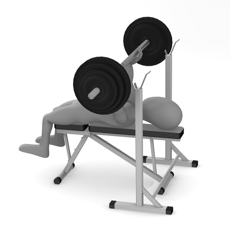 benchpress: 3d render of cartoon character making excercise