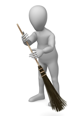 whisk broom: 3d render of cartoon character with besom Stock Photo