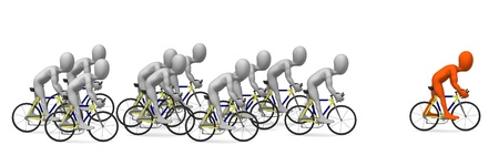 bicycle race: 3d render of cartoon character riding on bike