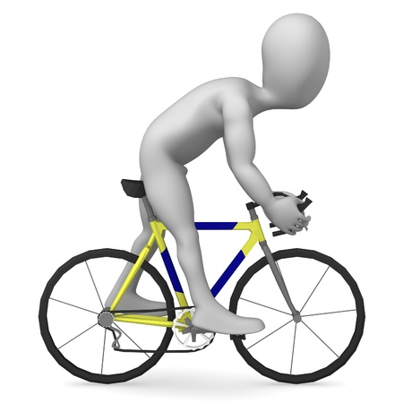 armstrong: 3d render of cartoon character riding on bike