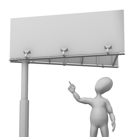 bill board: 3d render of cartoon character showing ad Stock Photo