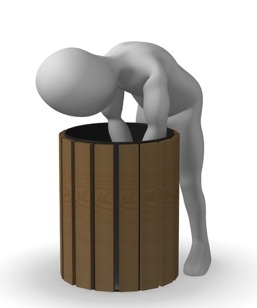 waste 3d: 3d render of cartoon character with bin Stock Photo