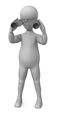 3d render of cartoon character with binoculars photo