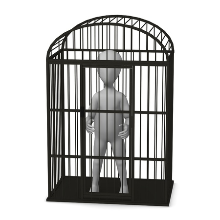 canary bird: 3d render of cartoon character in bird cage