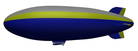 3d render of cartoon character in blimp photo