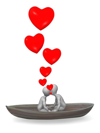 stockie: 3d render of cartoon character on boat