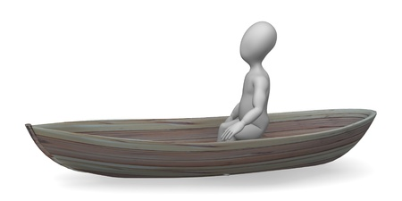 3d render of cartoon character on boat Stock Photo - 12959161