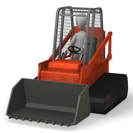 bobcat: 3d render of cartoon character in bobcat Stock Photo