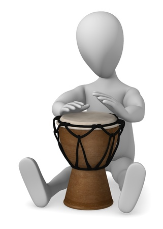 bongo drum: 3d render of cartoon character playing bongo drum  Stock Photo