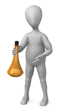 3d render of cartoon character with alcohol bottle    photo