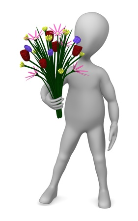 3d render of cartoon character with flowers   photo