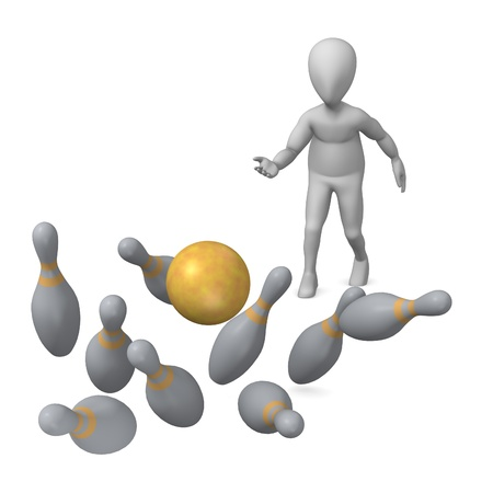 3d render of cartoon character and bowling   photo